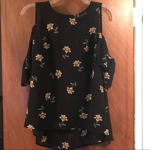 Floral Sleeveless Top With Attached Flutter Sleeve